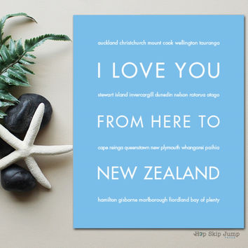 NEW ZEALAND Travel Art Print | Gift Idea | HopSkipJumpPaper