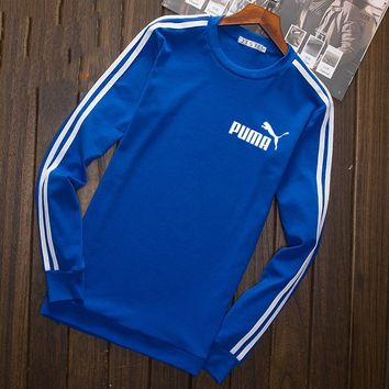 Puma Fashion Print Cotton Long Sleeve Sweater Pullover Sweatshirt Blue G-YSSA-Z