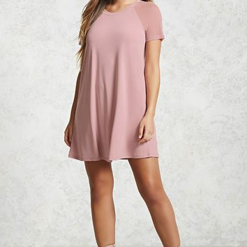 Mesh Sleeve T-Shirt Dress