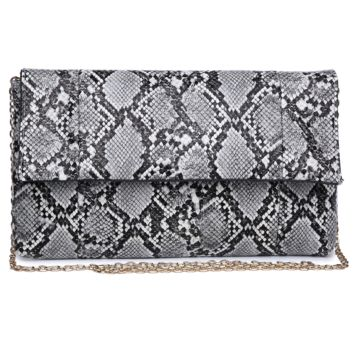 Urban Expressions Faux Snakeskin Black/Grey Clutch