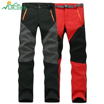 LoClimb 2017 Winter Fleece Softshell Pants Men Women Outdoor Trekking Climbing Sport Trousers Hiking Ski Waterproof Pants,AW085