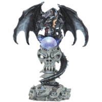 Black Dragon and Glowing Skull Altar Statue - 05-71487 by Medieval Collectibles
