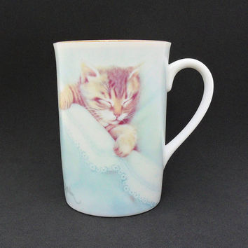 Vintage Kitten Cup Mug Otagiri Tabby Cat Nap Gold Rimmed Cup Bob Harrison Gift for Cat Lovers Coffee Mug Tea Cup