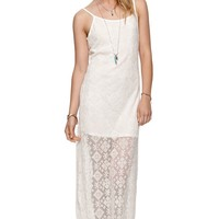 LA Hearts Mesh Lace Maxi Dress - Womens Dress - White -