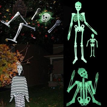 DCCKDZ2 90CM DIY Hanging Plastic Skull Skeleton Scary Spooky Halloween Props Glow Evil Party Favors Halloween Decoration