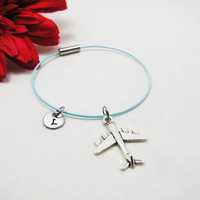 Airplane Bracelet - Silver Airplane Bangle - Initial Charm - Plane Jewelry - Initial Bracelet - Custom Bracelet - Flight Attendant Bangle