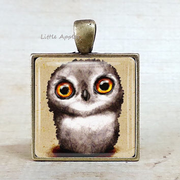Cute brown owl glass tile necklace or keychain, bird painting, owl drawing,  woodland necklace