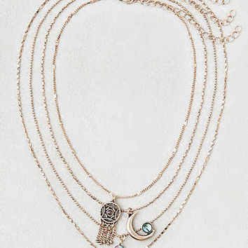 AEO Abalone Charms Layered Necklace , Gold