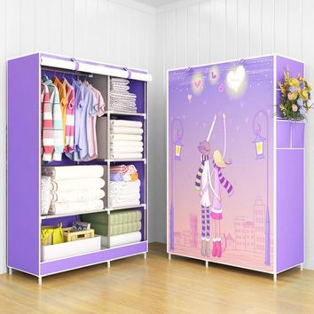 Modern trendy fashion home bedroom furniture storage portable assembly multi-purpose bedroom storage cabinets wardrobe closets