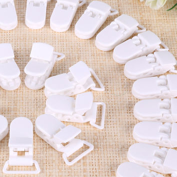 50 Pcs KAM Plastic Pacifier Clip Holder Soother Mam Baby Dummy Clips Chain For 20mm Ribbon 10 Colors S017 white  HD113