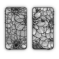 The White and Black Flower Illustration Apple iPhone 6 Plus LifeProof Nuud Case Skin Set