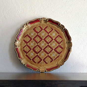 Vintage Italian Florentine Plate / Tray / Handpainted / maroon and gold / Hollywood Regency / vanity / dresser / boudoir / boho home / glam