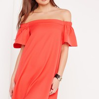 Missguided - Bardot Shift Dress Red