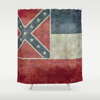 Mississippi State Flag, Distressed version Shower Curtain by Bruce Stanfield