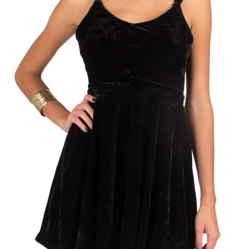 Strappy Velvet Dress - Black - Large