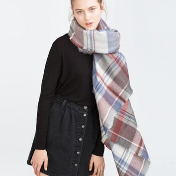 CHECK AND STRIPED SCARF