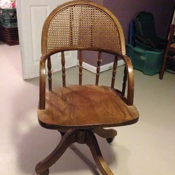 Antique Oak Swivel Desk Chair With Cane Back