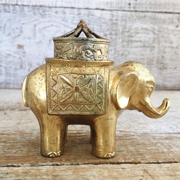 Brass Incense Burner Elephant Brass Incense Burner Cone Incense Burner Brass Elephant Figurine Asian Incense Burner Japanese Incense Burner
