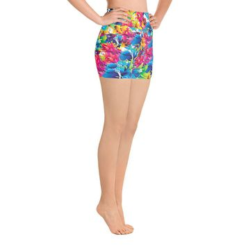 Floral All-over-print Yoga Shorts - Colorful flowers pattern, girls short pants