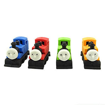 Yueton Pack of 4 Cute Funny Novelty Locomotive Rubber Eraser, Thomas the Train Pencil Eraser Stationery, Kids Gift Toy