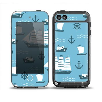 The Subtle Blue Ships and Anchors Skin for the iPod Touch 5th Generation frē LifeProof Case