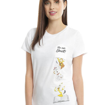 Disney Beauty And The Beast Be Our Guest Girls Pocket T-Shirt