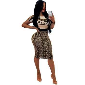 New Style Letter Print Women Skirt Set Tops And Skirt 2 Pieces Women Two Pieces Outfits Tracksuit Set MGL6107