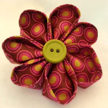 Fabric Flower Hair Clip - Kanzashi Flower - Flower Hair Accessory - Button Flower Clip - Brown Hot Pink Lime - Toddler to Adult Hair Clip