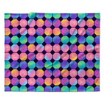 "Noonday Design ""Colorful Watercolor Octagons"" Watercolor Abstract Fleece Throw Blanket"
