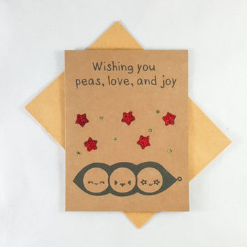 Peas Peace Christmas, Christmas Card, Funny Card, Funny Greeting Card, Greeting Cards, Pun Card, Cute Card, kawaii, Holidays, glitter, xmas