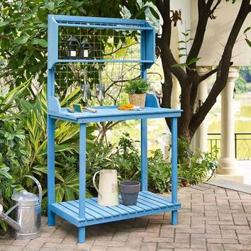 Blue Wood Potting Bench with Garden Tool Hanging Trellis and Slatted Shelf