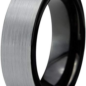 Black Grey Tungsten Wedding Ring Flat Cut Comfort Fit and Brushed Polished - 6mm