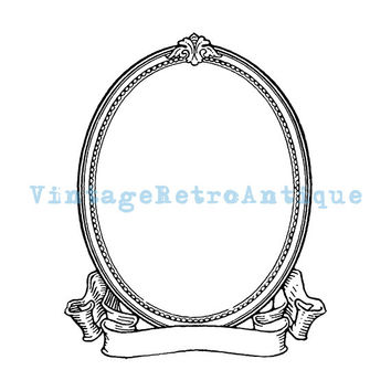 Printable Image Elegant Oval Frame and Scroll Banner Digital Blank Ornate Design Graphic Download Antique Clip Art 18x18 HQ 300dpi No.3692