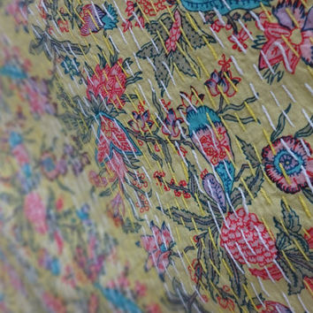 "Handmade Multi Floral Print Kantha Quilt, Multi Color Reversible Bedspread, indian Cotton Bed Cover, Size 95"" x 67"",Pinted Kantha Bedding"