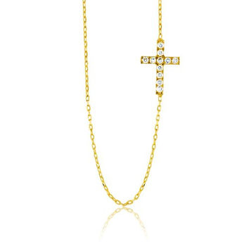 """Sterling Silver 16 + 1"""" extension Gold-Plated Synthetic Stone Small Sideways Cross Necklace"""