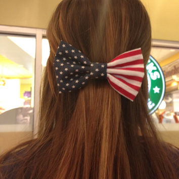 American Flag Fabric Hand sewn Hair bow