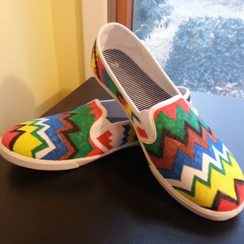 Colorful Tribal Print Hand Painted Shoes - Made to Order