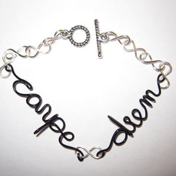 Carpe Diem Bracelet Black Copper Wire Silver by aLilJazzJewelry
