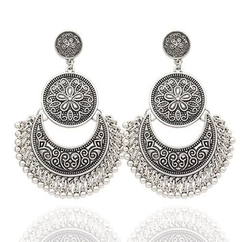 Q&Q Fashion Ethnic Bali Jhumka Jhumki Etched Lotus Mexico Gypsy Dangle Earrings