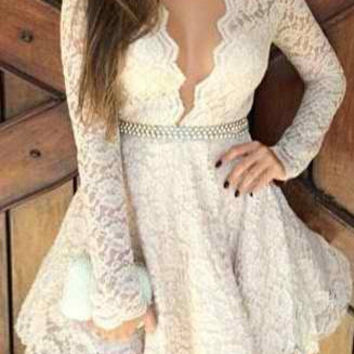 White Floral Lace Mini Dress
