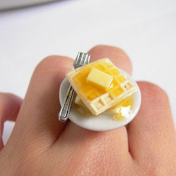 Waffle And Silver Fork Miniature Food Adjustable Ring