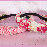Custom Floral Elastic Hedband by HoneyBunnyStuff on Etsy