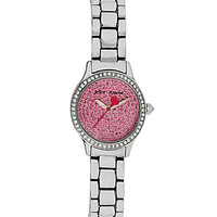 "Betsey Johnson ""Tiny Time"" Sex Pot Pink Watch - Silver"