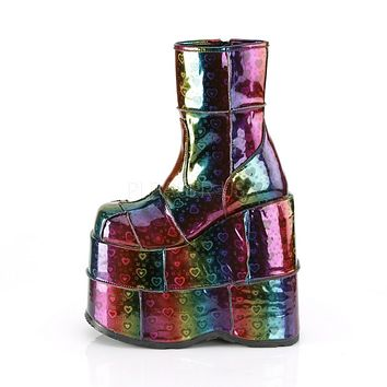 """Stack 201 Rainbow Heart Hologram 7"""" Stacked Platform Ankle Boots"""