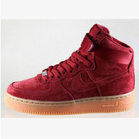 NIKE Women Men Running Sport Casual Shoes Air force High tops Wine red