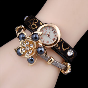 Shiny Great Deal New Arrival Gift Awesome Stylish Ladies Watch Leopard Floral Hot Sale Vintage Bracelet [6586247687]