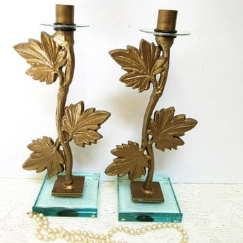 Sale Candlestick Holders Cast Iron Glass Base Home Decor Set of Two Vintage blm