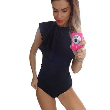 Women's Bodysuits Summer Spring Playsuits Jumpsuits Bodysuit Sexy Rompers Combinaison Femme One Piece Black White Overalls