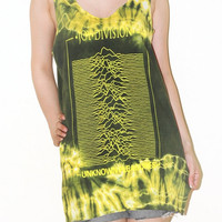 Joy Division Unknown Pleasures Women Top Bleached Yellow Green Tie Dye Music Tee Tank Top Singlet Sleeveless Indie Punk Rock T-Shirt Size M