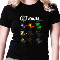 Cat Vengers Assemble Hero TV Womens T Shirts Black And White